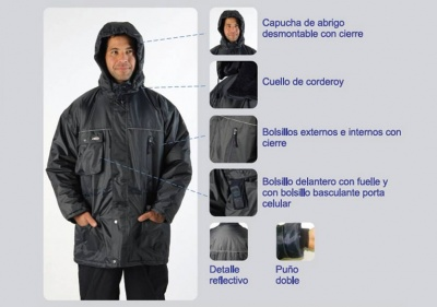 Parka de Frío 100% Impermeable - Color Azul